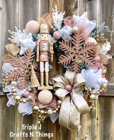 Excited to share this item from my #etsy shop: Nutcracker Wreath, Christmas Metallic Wreath, Rose Gold Christmas Wreath, Holiday Nutcracker Decor, Winter Metallic Wreath, Nutcracker Decor
