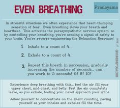 This is the foundation for many Counts-per-breath types of Pranayama.  Great, quick way to calm down when you're experiencing feelings of fear.