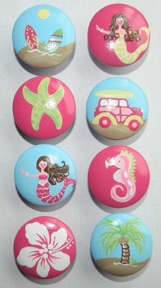 Hand Painted Girl Surf St. Tropez and Mermaids Drawer Knobs Nursery Cabinet Pulls by DoodlesDecor on Etsy