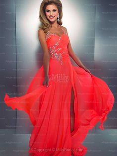 A-line Halter Chiffon Floor-length Beading Prom Dress at Millybridal.com