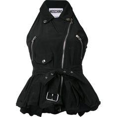 Moschino - biker peplum top (25.895 ARS) ❤ liked on Polyvore featuring tops, shirts, moschino, v neck sleeveless shirt, biker tops, sleeveless shirts and moschino shirt