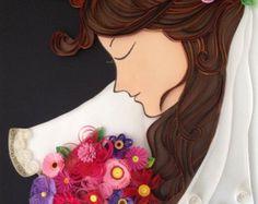Büttenpapier quilling Braut mit Blumenstrauß, gerahmt in Shadow Box, Hochzeitsgeschenk, Wandkunst