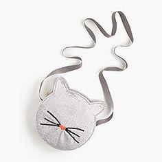 Girls' velvet kitty bag