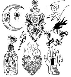Top small Tattoo collection for women halloween tattoos Flash Art Tattoos, Tattoo Flash Sheet, Body Art Tattoos, Tatoos, Tattoo Sketches, Tattoo Drawings, Art Sketches, Art Drawings, Unique Drawings