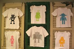 These freezer-paper stenciled tees would be a great favor for my son's upcoming Robot birthday party