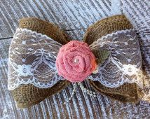 Burlap and Lace Bow / Shabby Chic Pew Bow / Burlap Bow Curtain Tie Back / DIY Flower Girl Basket / Shabby Chic Decor / Rustic Chic