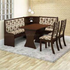 Conjunto para Sala de Jantar Canto Alemão com Mesa Capricho e 2 Cadeiras Kiara 100% MDF Choco/Magia - Viero Móveis