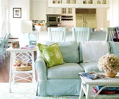 Cottage by the Sea: This Nantucket cottage brings all the wonders of the sea inside with splashes of bright color, lively seaside prints, and practical materials. Veronica Toney. Open Floor Plan:   Coral and pale blue are the couple's favorite shades, so designer Carrie Miller incorporated at least one of the hues in every room. She paired them with yellow, pale green, and beige for a bright and fun palette. The hub of the home is the open layout of the kitchen, breakfast nook, and family…