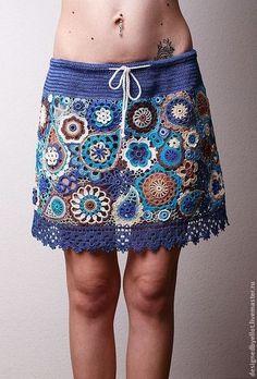 Юбка Grunge Jeans - синий,джинсовый,гранж,юбка,вязаная юбка,гипюр,гипюрное кружево