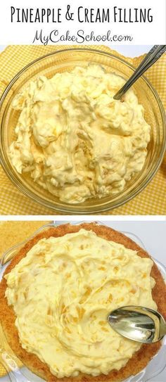 and Delicious Pineapple and Cream Filling Recipe! Easy and Delicious Pineapple & Cream Filling for Cakes and Cupcakes! via and Delicious Pineapple & Cream Filling for Cakes and Cupcakes! Cake Frosting Recipe, Frosting Recipes, Buttercream Frosting, Just Desserts, Delicious Desserts, Dessert Recipes, Cupcake Filling Recipes, Pineapple Frosting, Pineapple Filling For Cake