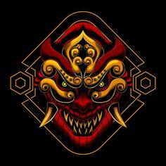 Asian Wallpaper, Graphic Wallpaper, Japanese Mask Tattoo, Ronin Samurai, Oni Mask, Japan Illustration, Samurai Artwork, Acid Art, Psy Art