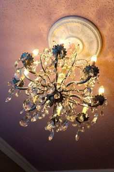 Gorgeous chandelier for a little girls bedroom