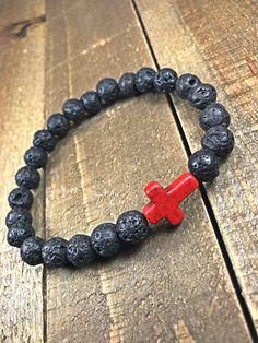 Men's lava rock cross bracelet mens bracelet beaded by SJIJewelry