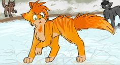 Flametail on the thin ice Pinepaw and Tigerheart in the background
