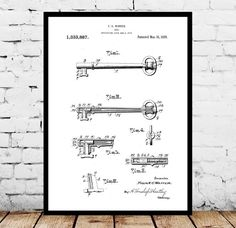 Vintage Skeleton Key Patent, Vintage Key Poster, Vintage Key Blueprint, Vintage Key Print, Vintage Key Art, Vintage Key Decor by STANLEYprintHOUSE  3.00 USD  We use only top quality archival inks and heavyweight matte fine art papers and high end printers to produce a stunning quality print that's made to last.  Any of these posters will make a great affordable gift, or tie any room together.  Please choose between different sizes and col ..  https://www.etsy.com/ca/listing/4827508..