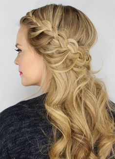 Half Up Lace Braids Hairstyle For Parties And Proms