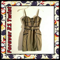 """Tan Forever 21 Dress NWOT Tan with black trim, zipper trim, and belt. Adjustable straps and a back zipper. Never worn. Forever 21 Twist, size small. Bust 35""""; waist 26"""" 62% cotton, 35% nylon, and 3% elastane. Forever 21 Dresses Mini"""