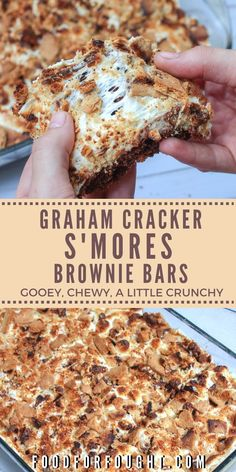 These Graham Crackers SMores Brownie Bars. These Graham Crackers SMores Brownie Bars are gooey chewy a little crunchy loaded with chocolate marshmallows and graham cracker bits for a gooey fudgy dessert youll love! Bon Dessert, Oreo Dessert, Eat Dessert First, Dessert Bars, Appetizer Dessert, Dessert Food, Dessert For Dinner, Appetizers, Smores Brownies