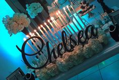 Sweet 16 Candlelabra //Personalized Name sign//Custom sign// Laser cut//Quinceanera// wedding decor// table decor//Custom sign for home Sweet 16 Candles, Black Candles, Cinderella Sweet 16, Old Hollywood Glam, Sweet Sixteen, Quinceanera, Bridal Shower, Candle Holders, Neon Signs