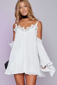 Vestido Plissado com Renda - Compre Online   DMS Boutique