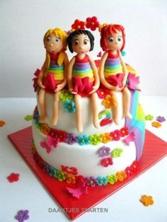 Rainbow cake! Cake by Daantje -0 one girl topper with rainbow dress??