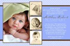 Boy Baptism, Christening and Naming Day Invitations and Thank You Photo Cards with Pale Blue Spots Baptism Invitation For Boys, Christening Invitations Boy, Baby Boy Christening, Boy Baptism, Invitation Layout, Photo Invitations, Invitation Ideas, Invitation Templates, Invitation Cards