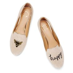 C. Wonder Bee Happy Smoking Slipper in White (METALLIC NATURAL) | Lyst Want to find these for one of my daughters.