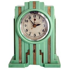 Telechron American Art Deco Skyscraper Clock in Mint Green - Art Deko Art Deco Table, Art Deco Decor, Art Deco Stil, Art Deco Home, Art Deco Era, Art Deco Design, Decoration, Design Design, Art Nouveau