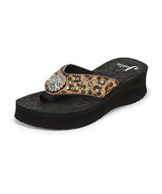 e978e88c19c303 Another great find on  zulily! Black Leopard Rhinestone Wedge Sandal - Women  by Justin