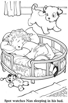 baby girl sleeping in a dogs bed painted on a rock - Vintage Coloring Pages