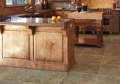 Kitchen Flooring Pictures: A Gallery of Designs and Decor: Faux Stone Vinyl Kitchen Floor Tiles