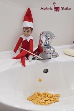 Fishing Elf on the Shelf. Click for more ideas!  #elfontheshelf
