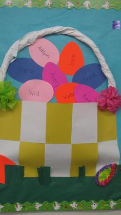 Easter Bulletin board with tissue paper flowers.