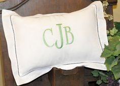 Monogrammed pillow Linen/Cotton Hem-stitched Pillow Monogrammed Pillow 11 x 15 Hemstitched Linen by ChezWhimsy on Etsy, $33.00
