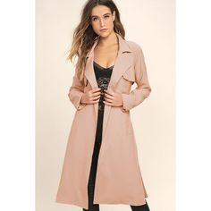 JOA Blissful Blush Pink Trench Coat ($121) ❤ liked on Polyvore featuring outerwear, coats, pink, long coat, pink coat, long sleeve coat, pink trenchcoat and sash belt