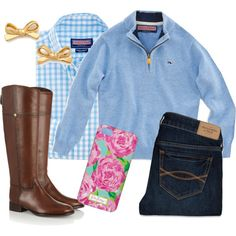 A fashion look from February 2014 featuring Abercrombie & Fitch jeans, Tory Burch boots and Kate Spade earrings. Browse and shop related looks.