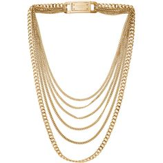 Michael Kors Multi-Strand Chain-Link Necklace, Golden (429.015 COP) ❤ liked on Polyvore