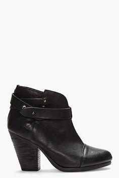 RAG & BONE Black Leather Belted Harrow Boots