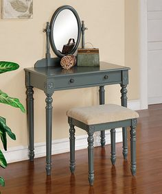Loving this Blue & Gray Classic Style Vanity & Stool on #zulily! #zulilyfinds