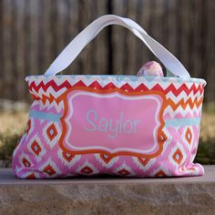 Pink Orange Chevron Ikat Easter Basket – Lolly Wolly Doodle