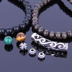 DIY Gemstone Bracelet Kit Onyx Tiger Eye Agarwood Malachite Sterling Silver 3041 #DIYNotion