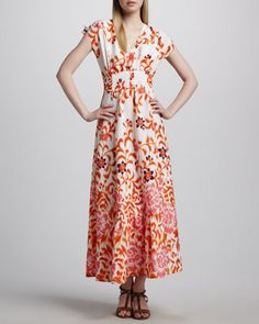 Floral Peasant Maxi Dress by Indikka at Neiman Marcus.
