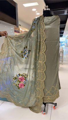 Grey semi causal Punjabi suit dupatta totally hand work Pakistani Fashion Party Wear, Pakistani Wedding Outfits, Indian Bridal Outfits, Salwar Suits Party Wear, Punjabi Salwar Suits, Patiala, Salwar Kameez, Embroidery Suits Punjabi, Embroidery Suits Design