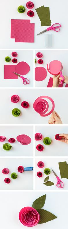 DIY: Rolled Flowers. This is an easy paper flower to create. Could be made with wired ribbon.