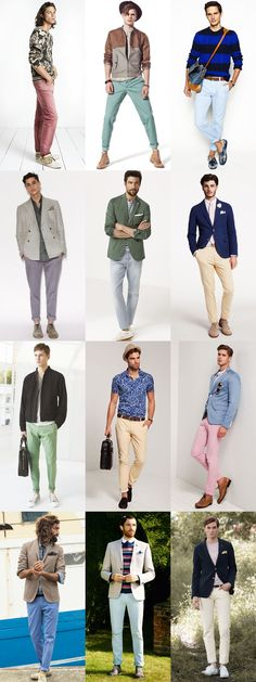 Men's Pastel Trousers/Chinos/Jeans Outfit Inspiration Lookbook
