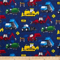 Timeless Treasures Construction Vehicles Navy from @fabricdotcom  From Timeless Treasures, this cotton print is perfect for quilting, apparel and home decor accents.  Colors include black, white, grey, red, yellow, green, red and blue.