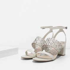 Cut Work Heeled Sandals   CHARLES & KEITH