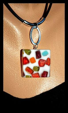 """Broken Glass Jello"" fused glass pendants by ©Sandra Miller 2009 by electra-cute, via Flickr"