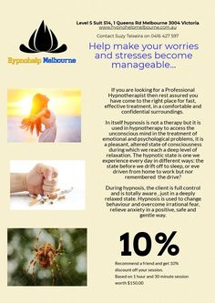 Call today and book your hypnotherapy appointment with the best Clinical Hypnotherapist in Melbourne! If you need a change in your life, we are ready to Hypnotherapy, No Worries, Clinic, Melbourne, It Works, Stress, Good Things, Make It Yourself, Life