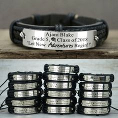 Inspirational Graduation Bracelet for Classmate, Class of 2019 Gift, High School/College Graduate, Personalized Real Leather Bandclassmate& name class and graduation hat symbol Let New Adv. Sister Bracelet, Sister Jewelry, Initial Bracelet, Name Bracelet, Bracelet Sizes, Leather Cuffs, Gold Leather, Real Leather, Bracelet Quotes